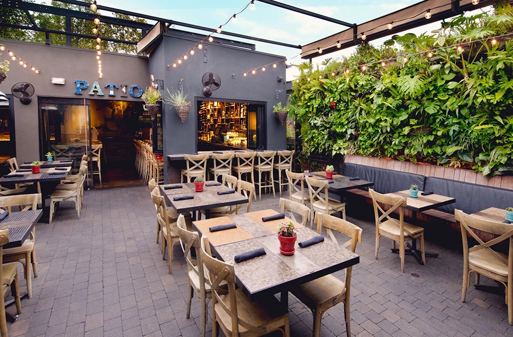 Outside dining area in a restaurant