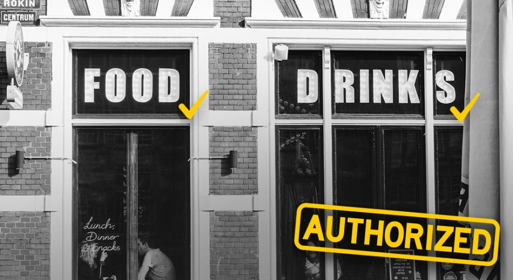 A restaurant authorized to open for business because it has the right licenses and permits