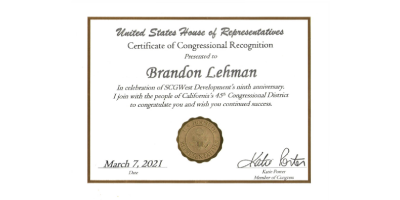 Congressional Certificate Awarded to Brandon Lehman