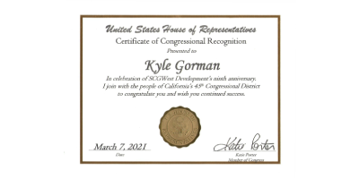 Congressional Certificate Awarded to Kyle Gorman